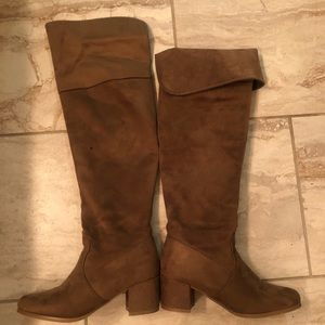 Shoes - Faux Suede brown over the knee boots